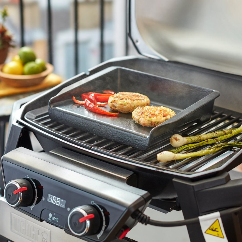 Piastra in ghisa per barbecue per cottura pesce ed hamburger